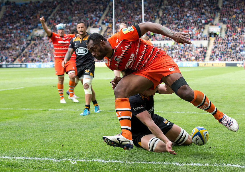 Leicester Tigers' Vereniki Goneva scores his sides second try<br /> <br /> Photographer Stephen White/CameraSport<br /> <br /> Rugby Union - Aviva Premiership - Wasps v Leicester Tigers - Saturday 9th May 2015 - Ricoh Arena - Coventry<br /> <br /> &copy; CameraSport - 43 Linden Ave. Countesthorpe. Leicester. England. LE8 5PG - Tel: +44 (0) 116 277 4147 - admin@camerasport.com - www.camerasport.com