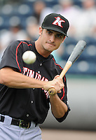 Outfielder John Spatola (22) of the Kannapolis Intimidators, Class A affiliate of the Chicago White Sox, prior to a game against the Greenville Drive on May 26, 2011, at Fluor Field at the West End in Greenville, S.C. The game was postponed due to rain. (Tom Priddy / Four Seam Images)