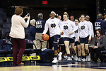 CHARLOTTESVILLE, VA - FEBRUARY 15: Notre Dame's Arike Ogunbowale leads her team onto the court. The University of Virginia Cavaliers hosted the University of Notre Dame Fighting Irish on February 15, 2018 at John Paul Jones Arena in Charlottesville, VA in a Division I women's college basketball game. Notre Dame won the game 83-69.