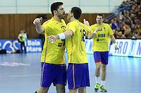 Dan Racotea si Marius Sadoveac se bucura dupa marcarea unui gol
