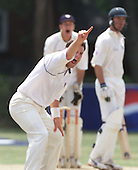 Scotland bowler James Brinkley claimsthe second of his of his two wickets in the 38th over at the Toronto Cricket Club   ....  picture by Donald MacLeod  13.07 .01