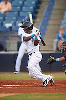 Tampa Yankees second baseman Jorge Mateo (14) at bat during a game against the Daytona Tortugas on August 5, 2016 at George M. Steinbrenner Field in Tampa, Florida.  Tampa defeated Daytona 7-1.  (Mike Janes/Four Seam Images)