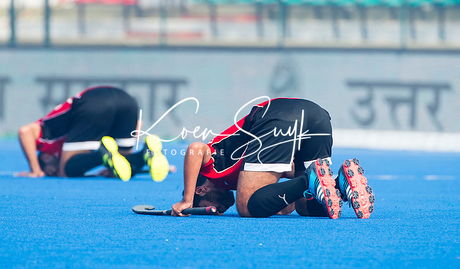 LUCKNOW (India) -   Junior World Cup hockey  U21 for men . EGYPT v CANADA  for the 15th/16th place.  Egypt players celebrate a goal on their own way.  COPYRIGHT  KOEN SUYK
