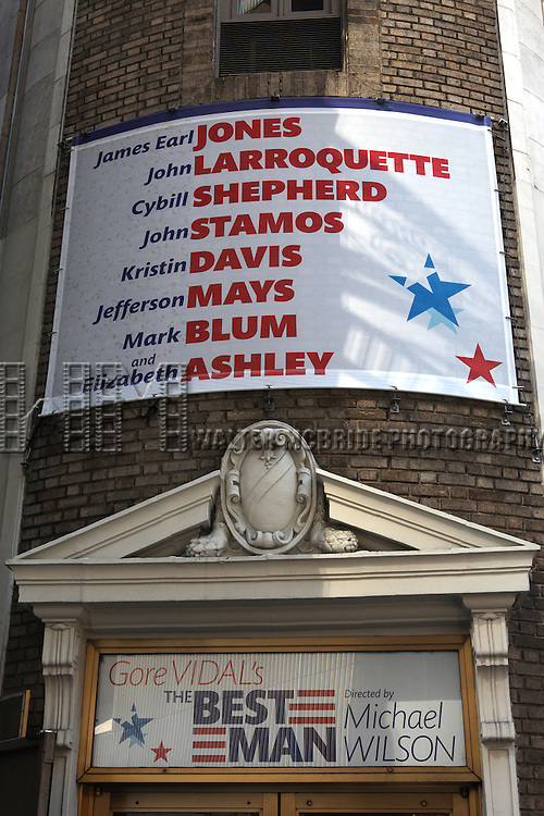 'Gore Vidal's The Best Man'  Theatre Marquee starring James Earl Jones, John Larroquette, John Stamos, Cybill Shepherd, Jefferson Mays, Kristin Davis, Mark Blum, and Elizabeth Ashley at the Gerald Schoenfeld Theatre in New York, NY on September 14, 2012