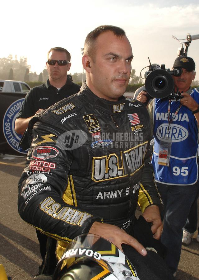 Nov 4, 2007; Pomona, CA, USA; NHRA top fuel driver Tony Schumacher during the Auto Club Finals at Auto Club Raceway at Pomona. Mandatory Credit: Mark J. Rebilas-US PRESSWIRE