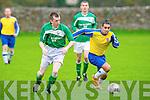 Classic FC's Alan Sanker and Castleisland's Paul Carmody.