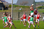 St Michaels Foilmore's Padraig King and Waterville's Greg Gibson do aerial battle in the final of the South Kerry League final on Saturday played at the Con Keating Park in Cahersiveen.