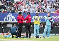 Jason Roy (England) re fuels as Jonny Bairstow (England) gets treatment for an injury during Australia vs England, ICC World Cup Semi-Final Cricket at Edgbaston Stadium on 11th July 2019