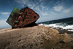 The remaining parts of a shipwreck washed ashore near Gibara, Cuba.