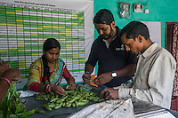 Technoserve Market Linkage Manager, Rajiv Shinde, helps out as collection centre owners Ganesh Kumar Singh, 30, and his wife Asha Devi, 25, grade vegetables that other producer group farmers bring in to be sold to the collection centre in Machahi village, Muzaffarpur, Bihar, India on October 27th, 2016. Ganesh and his wife, Asha Devi, a producer group member, rent out a part of their house to be used as a collection centre for Producer Group farmers. Non-profit organisation Technoserve works with women vegetable farmers in Muzaffarpur, providing technical support in forward linkage, streamlining their business models and linking them directly to an international market through Electronic Trading Platforms. Photograph by Suzanne Lee for Technoserve