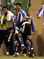 10 September 2005: Mark Chung of the Earthquakes celebrates with Wade Barrett after Chung scored a goal during the second half of the game against CD Chivas USA at Spartan Stadium in San Jose, California.    San Jose Earthquakes defeated CD Chivas USA, 3-0.