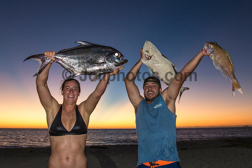 Namotu Island Resort, Nadi, Fiji (Thursday, May 25 2017): Tyler Wright (AUS) and Danny Griffith (AUS) after fishing trip. The wind had dropped back this morning and swung back to very light sea breeze. The swell had dropped again and was virtually flat out the front. A crew went to Despos or went fishing. Tyler Wright (AUS) caught one of the biggest Pomfrey's caught on the island. Photo: joliphotos.com