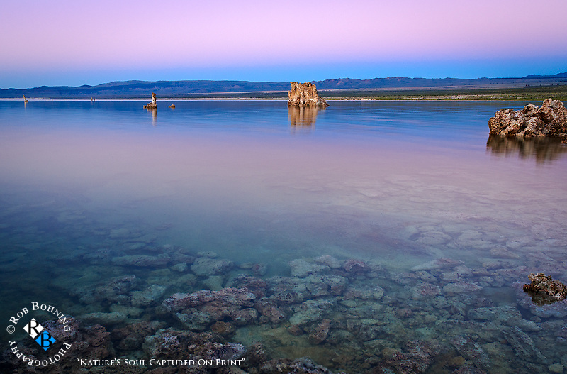 Surreal color palette in both sky and water over Mono Lake