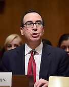 Steven T. Mnuchin appears before the US Senate Committee on Finance considering his nomination to be Secretary of the Treasury on Capitol Hill in Washington, DC on Thursday, January 19, 2017.<br /> Credit: Ron Sachs / CNP