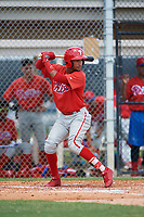 GCL Phillies shortstop Jonathan Guzman (80) at bat during a game against the GCL Tigers East on July 25, 2017 at TigerTown in Lakeland, Florida.  GCL Phillies defeated the GCL Tigers East 4-1.  (Mike Janes/Four Seam Images)
