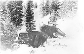 Two Pasenger cars derailed in snow. Snowslide at Phantom Curve, Toltec, NM<br /> D&amp;RG  Toltec, NM  Taken by Perry, Otto C. - 2/15/1948