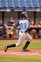 Tampa Bay Rays catcher Rafelin Lorenzo (89) during an Instructional League game against the Boston Red Sox on September 25, 2014 at Tropicana Field in St. Petersburg, Florida.  (Mike Janes/Four Seam Images)