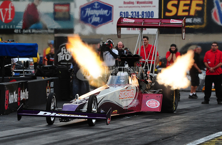 Sept. 30, 2011; Mohnton, PA, USA: NHRA top fuel dragster driver Rit Pustari during qualifying for the Auto Plus Nationals at Maple Grove Raceway. Mandatory Credit: Mark J. Rebilas-