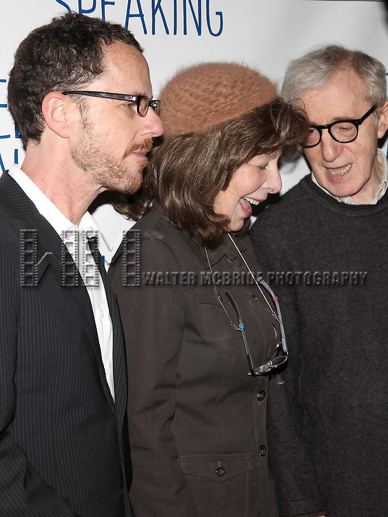 Ethan Coen & Elaine May & Woody Allen.attending the Opening Night after party for 'Relatively Speaking' at the Bryant Park Grill in New York City.