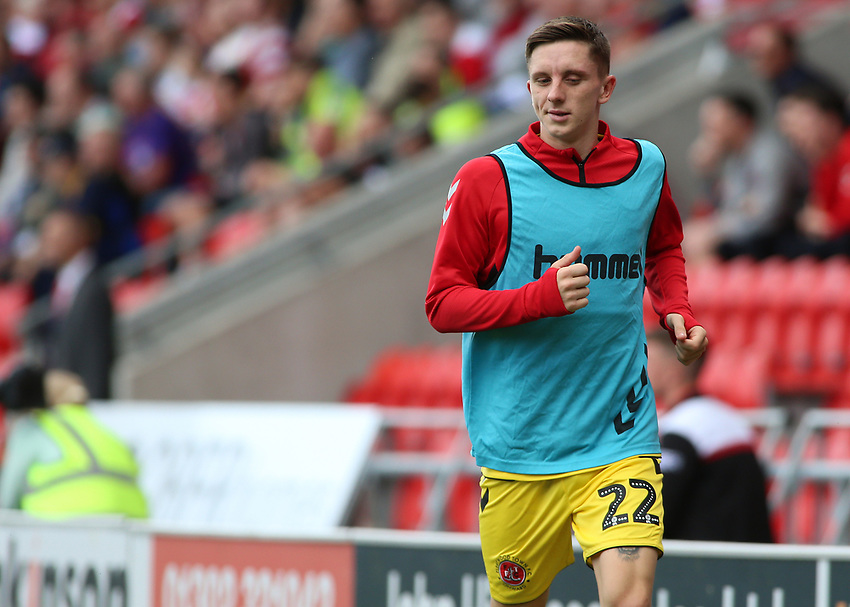Fleetwood Town's Ashley Hunter warms up<br /> <br /> Photographer David Shipman/CameraSport<br /> <br /> The EFL Sky Bet League One - Doncaster Rovers v Fleetwood Town - Saturday 17th August 2019  - Keepmoat Stadium - Doncaster<br /> <br /> World Copyright © 2019 CameraSport. All rights reserved. 43 Linden Ave. Countesthorpe. Leicester. England. LE8 5PG - Tel: +44 (0) 116 277 4147 - admin@camerasport.com - www.camerasport.com