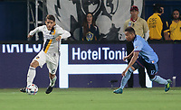Carson, CA - Saturday August 12, 2017: Jonathan dos Santos, Jonathan Lewis during a Major League Soccer (MLS) game between the Los Angeles Galaxy and the New York City FC at StubHub Center.