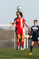 Western New York Flash midfielder Angela Salem (6) heads the ball. Sky Blue FC defeated the Western New York Flash 1-0 during a National Women's Soccer League (NWSL) match at Yurcak Field in Piscataway, NJ, on April 14, 2013.