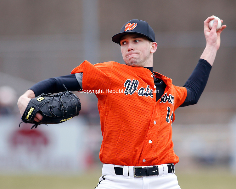 Naugatuck, CT- 08 April 2015-040815CM04- Watertown's Nick Mondak delivers a pitch during their NVL matchup against Naugatuck at Rotary Field on Wednesday.   Christopher Massa Republican-American
