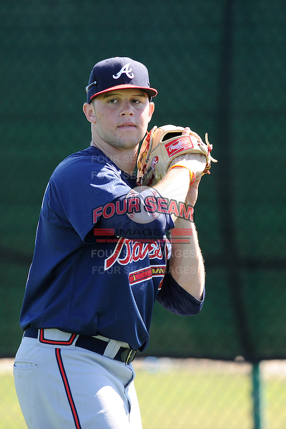 Outfielder Braxton Davidson (70) of the Atlanta Braves farm system in a Minor League Spring Training workout on Monday, March 16, 2015, at the ESPN Wide World of Sports Complex in Lake Buena Vista, Florida. (Tom Priddy/Four Seam Images)