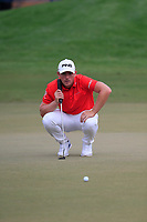 Matt Wallace (ENG) on the 15th green during the 3rd round of the DP World Tour Championship, Jumeirah Golf Estates, Dubai, United Arab Emirates. 17/11/2018<br /> Picture: Golffile | Fran Caffrey<br /> <br /> <br /> All photo usage must carry mandatory copyright credit (© Golffile | Fran Caffrey)
