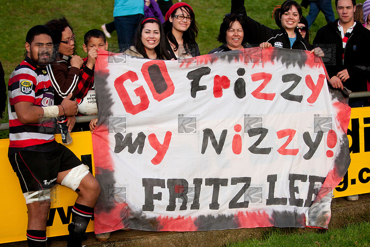 Fritz Lee poses with his fan club after the ITM Cup rugby game between Counties Manukau Steelers and Northland, played at Bayer Growers Stadium, Pukekohe, on Sunday September 26th 2010..The Counties Manukau Steelers won 40 - 24 after leading 27 - 7 at halftime.
