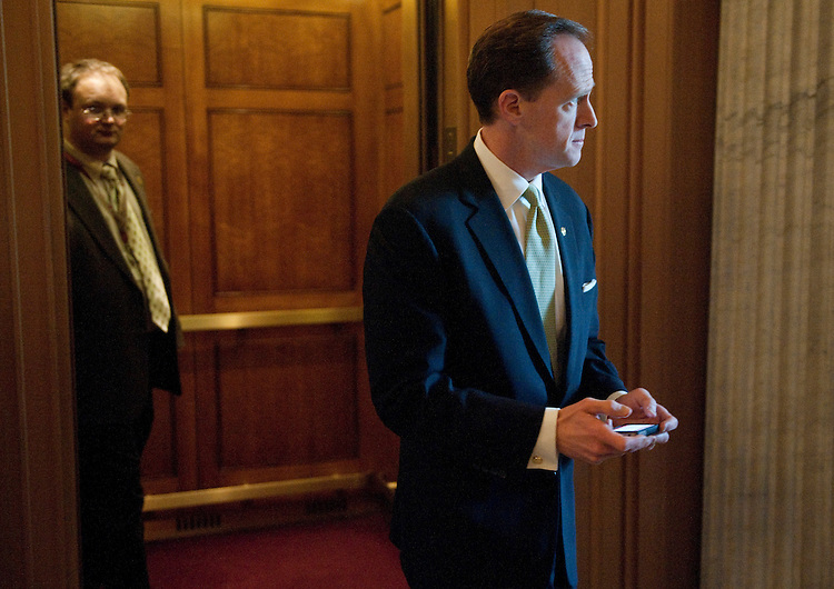 UNITED STATES – JANUARY 31: Sen. Pat Toomey, R-Pa., arrives for the Senate Republicans' policy lunch on Tuesday, Jan. 31, 2012. (Photo By Bill Clark/CQ Roll Call)