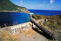 Old Cannon in the ruins of Fort Cachacrou overlooks village of Scots Head, island of Dominica , West Indies. Scots Head, Dominica West Indies.