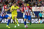 Bruno Soriano of Villarreal competes for the ball with Angel Correaa of Atletico de Madrid during the match of La Liga between Atletico de Madrid and Villarreal at Vicente Calderon  Stadium  in Madrid, Spain. April 25, 2017. (ALTERPHOTOS/Rodrigo Jimenez)