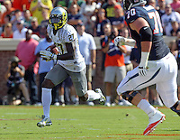 Oregon defensive back Terrance Mitchell (27) Oregon defeated Virginia 59-10 during an NCAA college football game at Scott Stadium, Saturday, Sept. 7, 2013, in Charlottesville, Va. (Photo/Andrew Shurtleff)