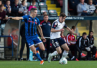 Bolton Wanderers' Callum King-Harmes (right) competing with Rochdale's Jim McNulty <br /> <br /> Photographer Andrew Kearns/CameraSport<br /> <br /> The Carabao Cup First Round - Rochdale v Bolton Wanderers - Tuesday 13th August 2019 - Spotland Stadium - Rochdale<br />  <br /> World Copyright © 2019 CameraSport. All rights reserved. 43 Linden Ave. Countesthorpe. Leicester. England. LE8 5PG - Tel: +44 (0) 116 277 4147 - admin@camerasport.com - www.camerasport.com