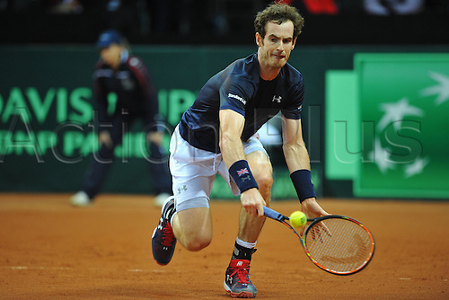 27.11.2015. Belgium. Davis Cup Final, Great Britain versus Belgium. Day 1 play.  Andy Murray (GB) defeats Ruben Bemelmans by a score of  6-3 6-2 7-5 to level the tie at 1-1.