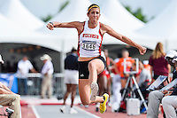 Laura McGinnis of Wisconsin competes in first round of triple jump during West Preliminary Track & Field Championships at John McDonnell Field, Friday, May 30, 2014 in Fayetteville, Ark. (Mo Khursheed/TFV Media via AP Images)