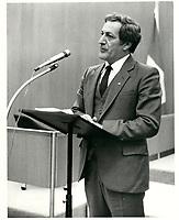 Le Ministre de la Justice Marc-Andre Bedard, le 7septembre 1983.<br /> <br /> PHOTO : Agence Quebec Presse