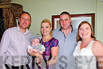 Baby Brian Todd Nolan with his parents Kasia Milewska & Cliff Nolan & god parents P.J. Sheehy & Ewa Klimczak who was christened at St. Micjhael's Church, Lixnaw by Fr. Mossie Brick, PP. on Sunday last and afterwards at the Saddle Bar, Listowel/