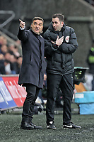 Swansea manager Carlos Carvalhal protests to the fourth official during the Premier League game between Swansea City v Chelsea at the Liberty Stadium, Swansea, Wales, UK. Saturday 28 April 2018