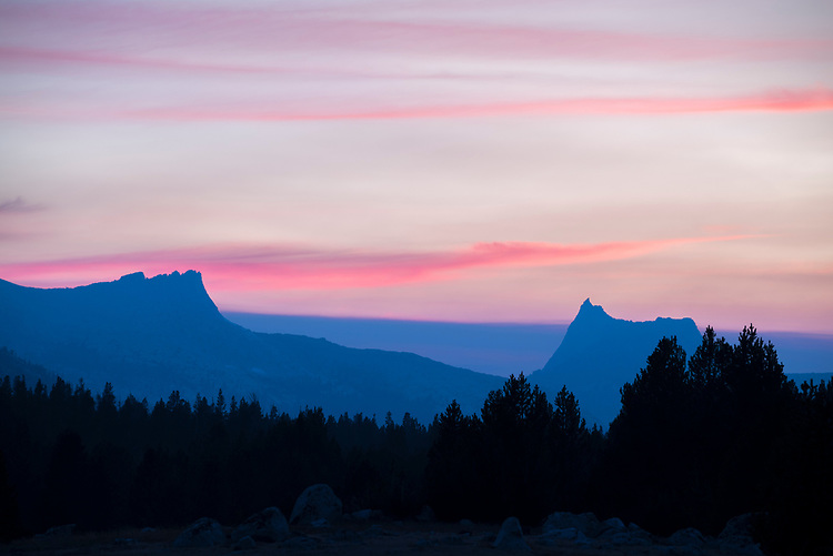 The last colors in the evening sky hover over the Cathedral Range in Yosemite's high country.