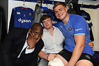 Beno Obano, Nick Auterac and Tom Ellis of Bath Rugby pose for a photo after the match. Aviva Premiership match, between Bath Rugby and London Irish on May 5, 2018 at the Recreation Ground in Bath, England. Photo by: Patrick Khachfe / Onside Images