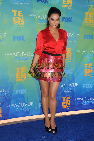 Shay Mitchell.2011 Teen Choice Awards - Arrivals held at Gibson Amphitheatre, Universal City, California, USA..August 7th, 2011.full length red paillettes skirt shirt silk satin black peep toe shoes clutch bag.CAP/ADM/BP .©Byron Purvis/AdMedia/Capital Pictures.