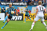 11.08.2019, Carl-Benz-Stadion, Mannheim, GER, DFB Pokal, 1. Runde, SV Waldhof Mannheim vs. Eintracht Frankfurt, <br /> <br /> DFL REGULATIONS PROHIBIT ANY USE OF PHOTOGRAPHS AS IMAGE SEQUENCES AND/OR QUASI-VIDEO.<br /> <br /> im Bild: Dorian Diring (SV Waldhof Mannheim #8) gegen Martin Hinteregger (Eintracht Frankfurt #13)<br /> <br /> Foto © nordphoto / Fabisch