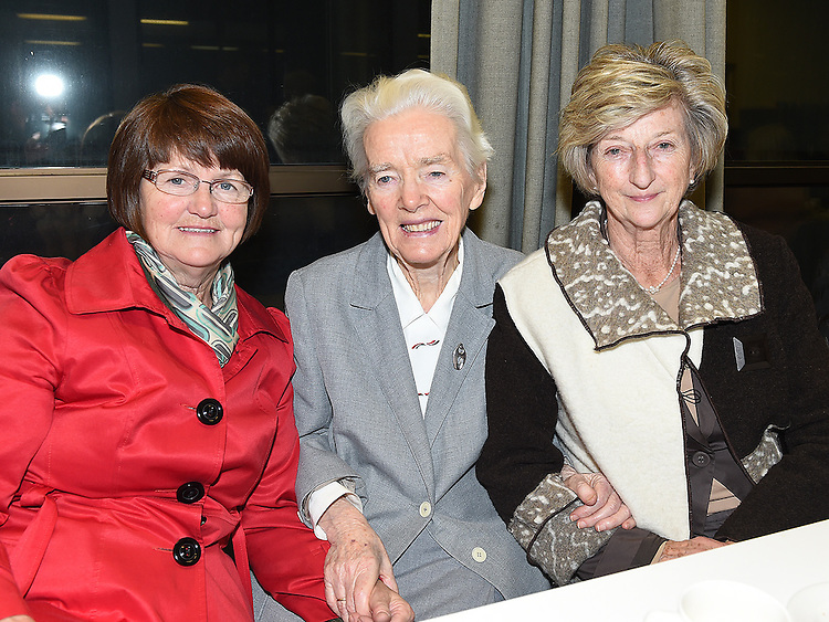 Eithne McCole, Sr Monica and Breda Early pictured in the Medical Missionary of Mary auditorium for the presentation to Fr Emlyn McGinn. Photo:Colin Bell/pressphotos.ie