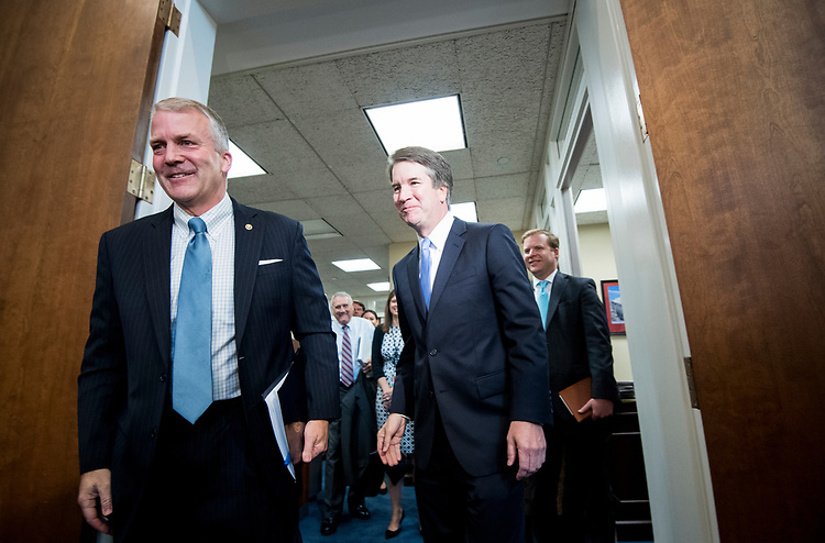 UNITED STATES - JULY 12: Sen. Dan Sullivan, R-Alaska, left, and Supreme Court nominee Brett Kavanaugh arrive for their photo-op before their meeting in the Hart Senate Office Building on Thursday, July 12, 2018. (Photo By Bill Clark/CQ Roll Call)