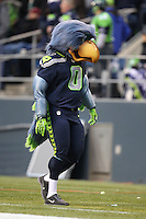 Dec 30, 2012:  Seattle Seahawk's macot Blitz entertaines the fans during the game against the St. Louis Rams during Sunday nights game of the week at Century Link Stadium in Seattle WA.  Seattle defeated St. Louis 20-13.