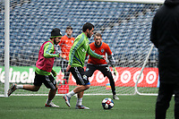 SEATTLE, WA - NOVEMBER 9: Nicolas Lodeiro #10 of the Seattle Sounders FC plays the ball away from Alex Roldan #16 at CenturyLink Field on November 9, 2019 in Seattle, Washington.
