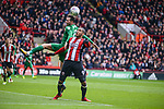 Leon Clarke of Sheffield Utd battles with Alan Browne of Preston North Endduring the Championship league match at Bramall Lane Stadium, Sheffield. Picture date 28th April, 2018. Picture credit should read: Harry Marshall/Sportimage