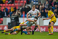 24th November 2019; AJ Bell Stadium, Salford, Lancashire, England; European Champions Cup Rugby, Sale Sharks versus La Rochelle; Jono Ross of Sale Sharks is tackeld by Romain Sazy of La Rochelle - Editorial Use